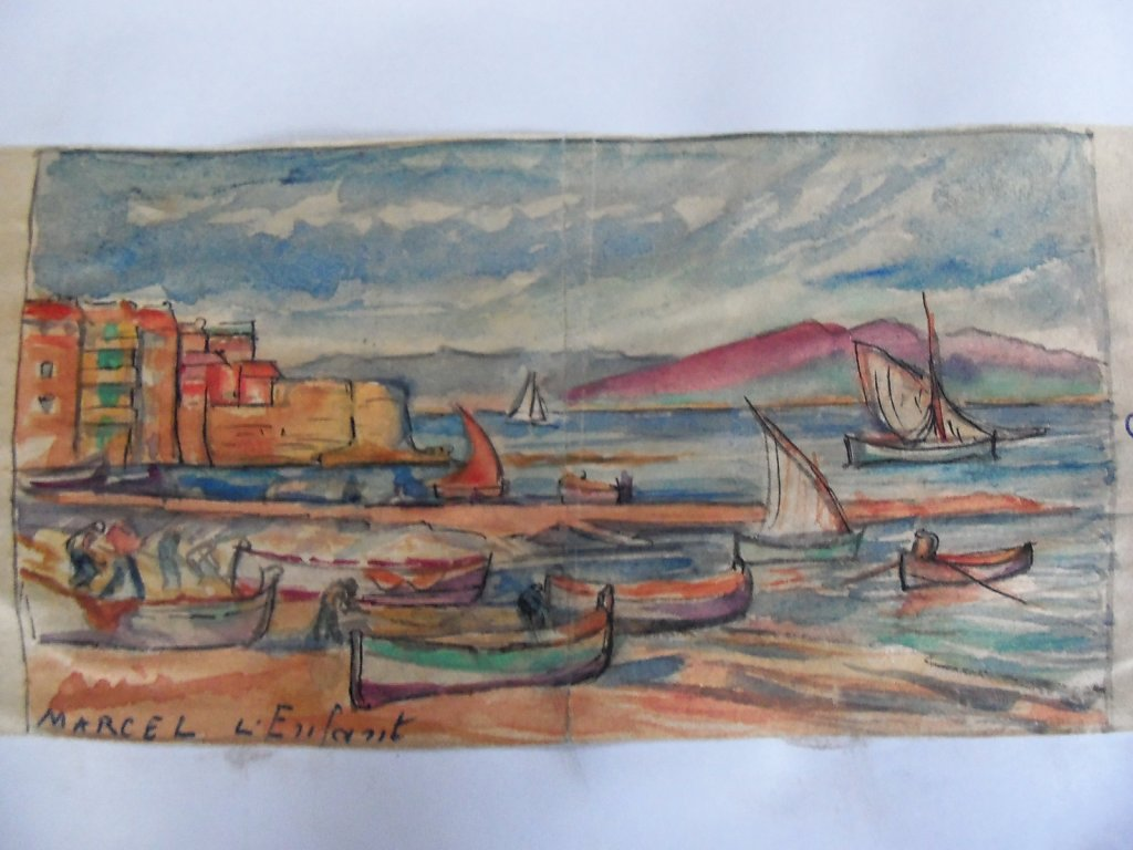 aquarelle de mémoire du tableau st Tropez
