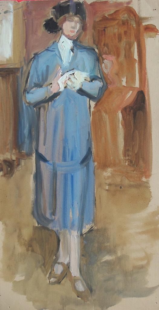 Jeanne dans son pardessus droit