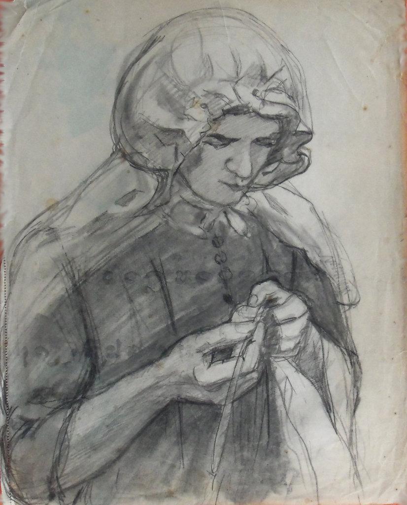 femme bretonne cousant