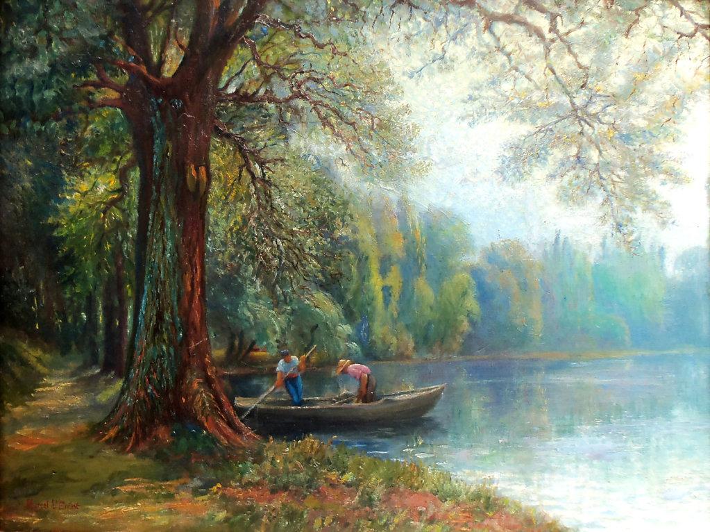 Départ en barque sur l'Eure