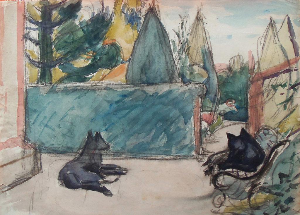 Duc et Athos devant la maison